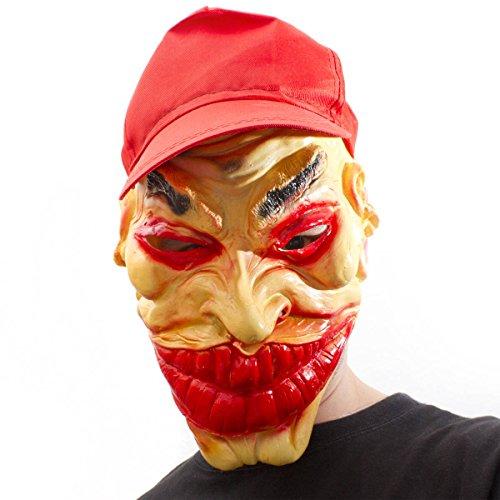 GANGSTER Masque de Clown plein avec Ganove Casquette Masque en latex Joker Horreur Clown Revêtement