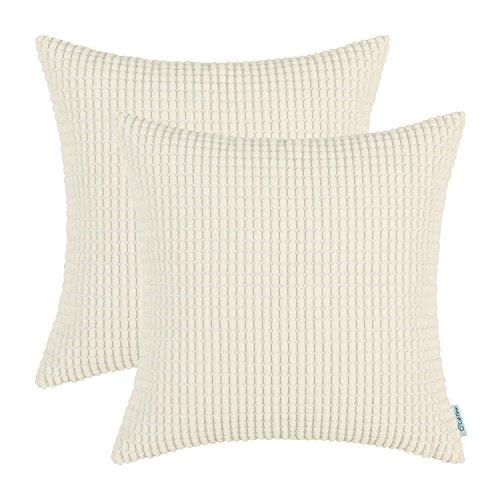 Kissenbezüge, cord-kissen CaliTime 2 Stück Kissen Werfen Kissen Abdeckungen Fälle Schutz Muscheln zum Couch Sofa Schlafzimmer Zuhause Weihnachten Dekor (45cm x 45cm)