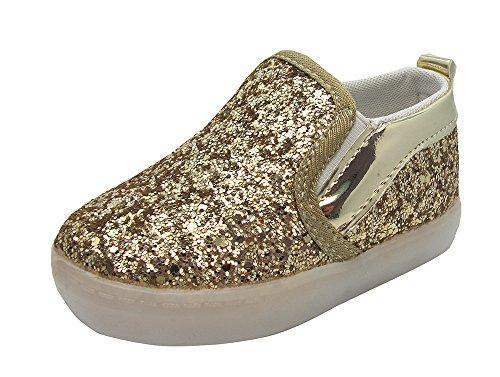 Kleinkind Glitzer LED Leuchtende Sneakers - Gr. 21-25 Gold Halbschuhe