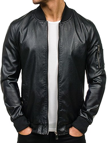 BOLF – Veste – Faux cuir – Fermeture éclair – Biker – Motif – Homme [4D4] Noir