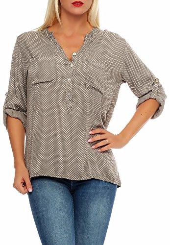 Malito Damen Bluse mit Punkten | Tunika mit ¾ Armen | Blusenshirt mit Knopfleiste - Shirt - Oberteil 9069 (Fango)