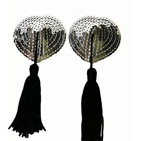 ZOYOL Petto a forma di cuore in silicone capezzolo nappa paillettes sexy femminile incollare adesivi , 8 , mean