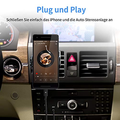 Auto AUX Kabel für iPhone, Kingone 3.5mm Aux Kabel auf iPhone 7/8 / X / 8 Plus/XS MAX/XR zum Autoradio/Lautsprecher/Kopfhörer-Adapter【Nylon geflochten, 3.3ft】 - 2
