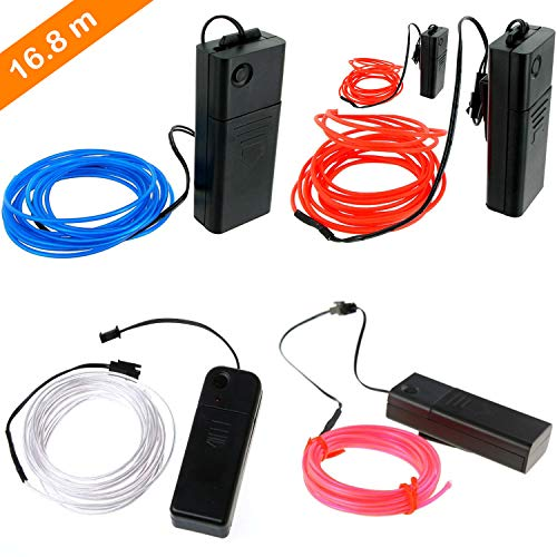 EL Wire Kabel Neon Seil Lichter, tragbare batteriebetriebene, flexible Neonlicht für Heimtextilien, Party, DIY, Autos, Fenster, Beleuchtung Banner 5 PCS (Weiß 15ft, Rot 10ft*2, Blau 10ft, Pink 10ft) (Blaue Rote Und Weiße Banner)