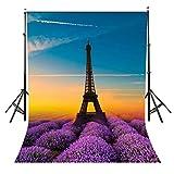 lylycty 5x 2,1Eiffelturm Hintergrund Romantische Blume Meer und Eiffelturm Creative Fotohintergrund Foto Fotografie Requisiten Studio Display Wandbild lylx475