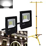 VINGO® 2X 30W Kaltweiß LED Fluter Strahler Baustrahler + Teleskop Stativ Höhenverstellbar Gelb Flutlicht Campinglampe Arbeitsleuchte