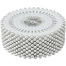 Dealglad 400 piezas blanco perla redonda cabeza recta reyerta boda decoración arte de costura prod.no