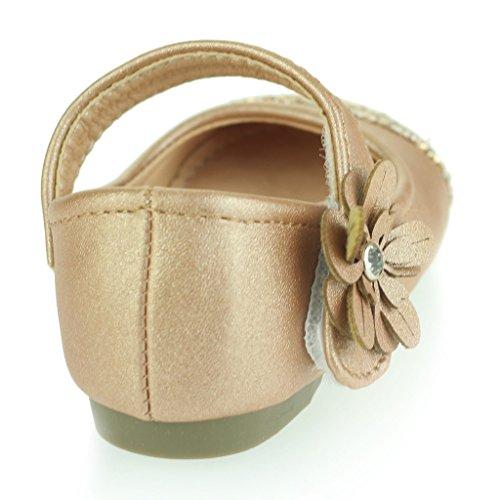 Kinder Mädchen Sparkly Zehe Blumen Detail Klettverschluss Baby Flach Pump Gepolsterte Sohle Sandale Schuhe Größe Gold