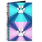CafePress–Violett Blau–Spiralbindung Journal Notebook, persönliches Tagebuch, Pfotenabdruckmotiv, Dot Grid