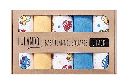 LULANDO Stoffwindeln und Moltontücher 70x80cm (5er Set). Waschbare Windeln und Spucktücher für Ihr Baby. Farbe: Autos Gelb/Blau