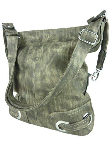 Shopper Layra, große Damen Tasche, Umhängetasche in versch. Farben mit langen Trageriemen, 40x35x14 cm grau hellgrau