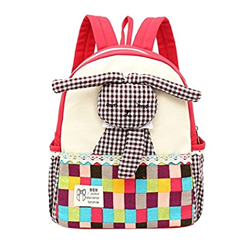 Baby Girls Lovely Bunny Backpack, Kids Rabbit Pattern Plaid Animals Toddler School Bag by Kolylong