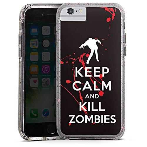 Apple iPhone 6 Bumper Hülle Bumper Case Glitzer Hülle Keep Calm Zombies Blood Bumper Case Glitzer rose gold