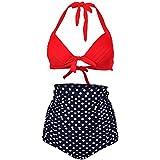 QZUnique Women's Polka Skull Heads Halter High Waist Bikini Set Swimsuit US 10-12 Red And White Polka