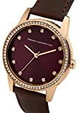French Connection Women's Quartz Watch with Purple Dial Analogue Display and Brown Leather Strap FC1251T