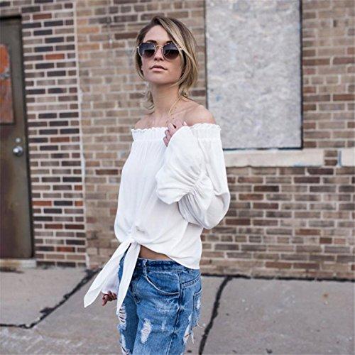 CYBERRY.M Chemise Été Femme Casual Manches Longues Bateau Épaule Nue T-shirt Blouse Top Blanc