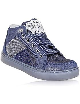 LELLI KELLY - Zapato de cordones azul, de tejido con glitter, con aplicaciones plateadas, logo trasero, Niña,...