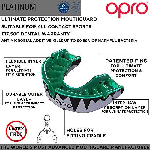 Opro Unisex\'s Platinum Sports Mundschutz, Minint/Pearl/Schwarz, ab 10 Jahren