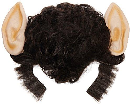 wolf Perücke mit großen Ohren und Koteletten, schwarz (Panda-make-up Für Halloween)