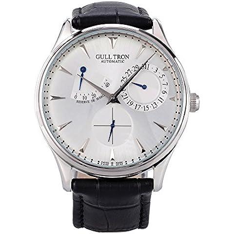 gabbiano orologio G1780 uomini moda automatico in acciaio meccanico impermeabile zaffiro sintetico cinturino in pelle di cristallo (Nero)