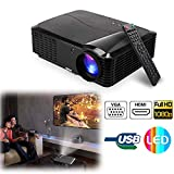 CAIWEI Video Projector 4500 Lumens Support Full HD 1080P Multimedia Home Cinema Theater Smart Movie Projector with HDMI VGA USB AV for Home Outdoor Entertainment, Party and Games