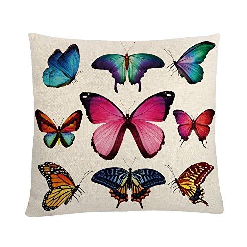 MAYUAN520 Coussins Housse De Coussin Lin Coton Papillons Multicolores 45*45Cm Oreillers Cas Pour Fauteuil-Lit Oreiller Decoration Taies.
