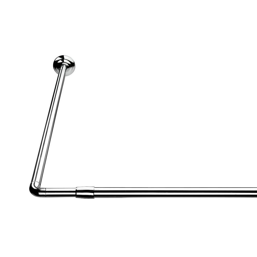 Croydex L Shaped Telescopic Silver Shower Curtain Rail 1400mm ...