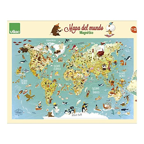 Vilac- Mapa del Mundo magnético, 76x50x1 (2720S)