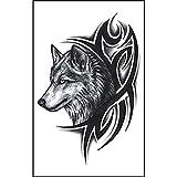 logres 5Blatt abnehmbarer Wolf Aufkleber wasserdicht Tattoo temporäre Body Art Fake Tattoos