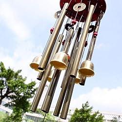 Chino tradicional 10 Tubos asombrosos 5 campanas de bronce Yard jardín Vida al aire libre campanas de viento 85cm Trae suerte del dinero, el mejor regalo