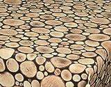 ecosoul Wachstuch Tischdecke Logs Breite 140cm Holz Optik Baumstamm braun Länge wählbar abwischbar glatt (100cm)