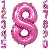 40-Zoll 0-9 in Rosa Nummer Foil Ballons Helium Zahlenballon Luftballon Riesenzahl Party Hochzeit Kindergeburtstag Geburtstag Nummer 8