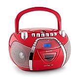 auna Beeboy Poste radio CD cassette portable (lecteur CD & K7, fonction répétition et mode aléatoire, port USB compatible MP3, haut-parleurs stéréo intégrés, sortie casque) - rouge