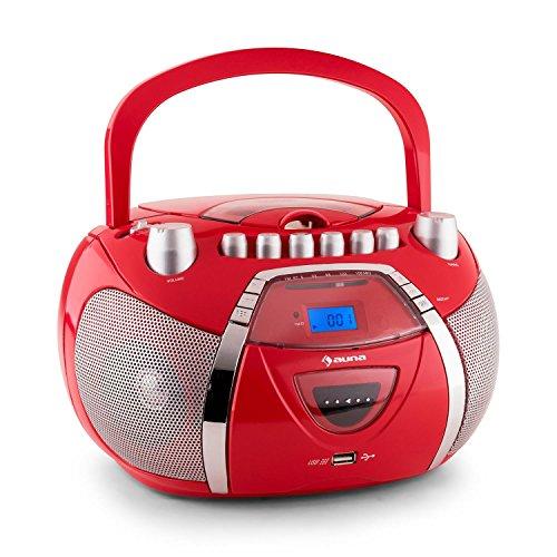 Auna Beeboy Radiocasete CD MP3 USB rojo (radio FM, funcionamiento a pilas opcional, pantalla LCD, música, altavoces estéreo, portátil)