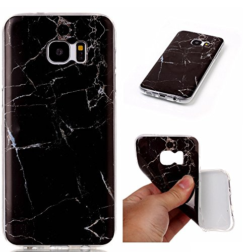 Custodia per Samsung Galaxy S6, con protezione schermo,], mo-beauty ® Marble Pattern Design Flessibile Morbido TPU Silicone Gomma Slim Fit Custodia protettiva per Samsung Galaxy S6 Purple Samsung Gala Black