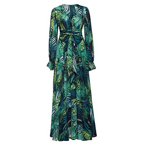 CHZDLYQ Kleid Frauen Neue Blumenmuster Lange Maxi-Kleid Sommer Strand Plus Size Holiday Green Kleider S Grün - Green Holiday Kleid