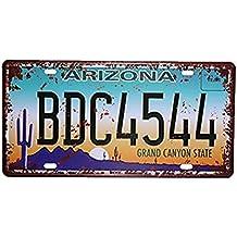 """eureya Arizona BDC4544Auto de la matrícula coche etiqueta Home/Cafe Bar/Pub/restaurante/Exposición decoración de la pared Póster Vintage placa 6""""x12"""""""