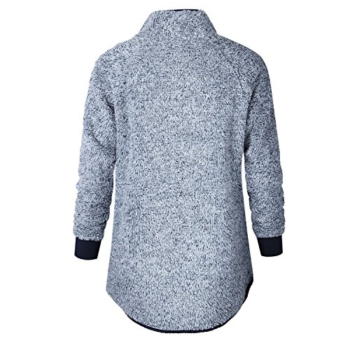 szivyshi Encolure Montante Haute Asymétrique Boutonnée Boutons Col Matelassé Colorblock Chaud Doublés de Peluche Sweatshirt Sweat-Shirt Pull Sweater Haut Top Bleu foncé