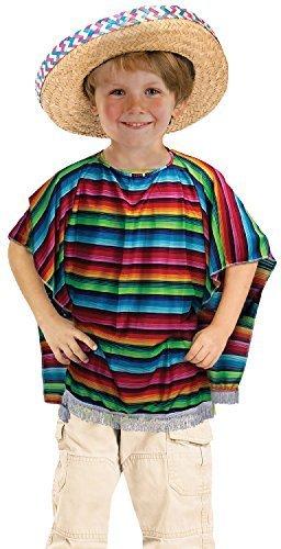 MÄDCHEN JUNGEN KINDER RAINBOW Mexikanisch Bandit Poncho Karneval Mardi Gras Welttag des Buches Woche Kostüm Outfit (Für Kostüm Bandit Mädchen)