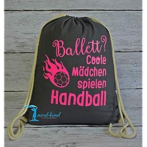 Sportbeutel Mädchen Handball Turnbeutel mit Spruch/Gymbag/Jutebeutel/Rucksack