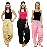 Pistaa Combo of Womens Solid Pure Cotton Beige, Black And Pastle Pink Best Indian Punjabi Comfortable Casual Wear Plain Readymade Patiala Salwar