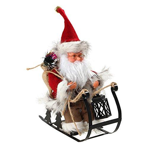 AUTOUR DE MINUIT 5AUT455 Automate Père Noël sur Luge à Piles Plastique Multicolore 24.5x10x25 cm