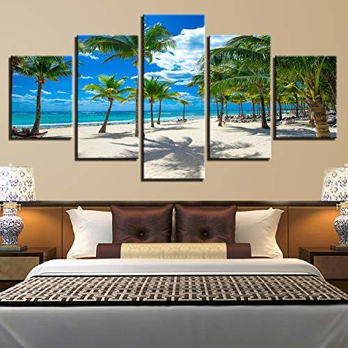 ASDZXC Dekor Hause Wand Kunst Modulare 5 Stücke Hd Druck Palm Baum Und Strand Leinwand Gemälde Sommer Urlaub Resorts Seascape Bilder