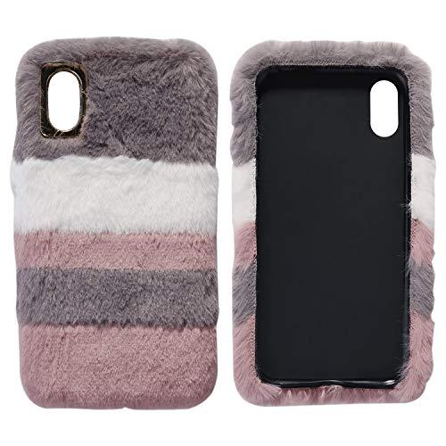 ZXK CO iPhone X Hülle Fell, Damen Girly Cute Silicone TPU iPhone XS schutzhülle Weich Plüsch Warm Handyhülle Anti-Kratzer stoßfest Case Cover für iPhone X/XS 5.8 Zoll (Streifen) -