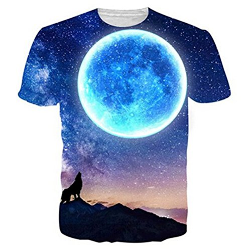 Uideazone Unisex 3d Print Funny Mens Short Sleeve T-shirts Multicoloured UK S-L wolf43