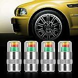 Swiftswan 4 STÜCKE Auto Auto Reifendruckkontrolle Ventilschaftkappen Sensoranzeige Alarm (Farbe: Multicolor & Silber)