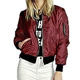 SHOBDW Femme Automne Hiver Manteau Blouson Veste Casual Jumper Sport Hauts Tops Pullover Blouse Mode, Noir Vert Rouge, S-XXXL (S, Rouge)