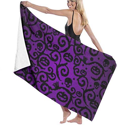 xcvgcxcvasda Badetuch, Beach Towels Decor Polyester Fiber Happy Halloween Purple Pumpkin Badetuch,s Oversized Soft, High Absorbent, Eco-Friendly Printed Badetuch,Quick Dry 31.5