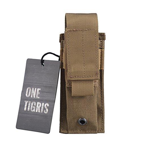 OneTigris Einzel Pistole Magazintasche/Mag Pouch Verstellbare Nylon Gürteltasche/Tool Pocket (Braun)