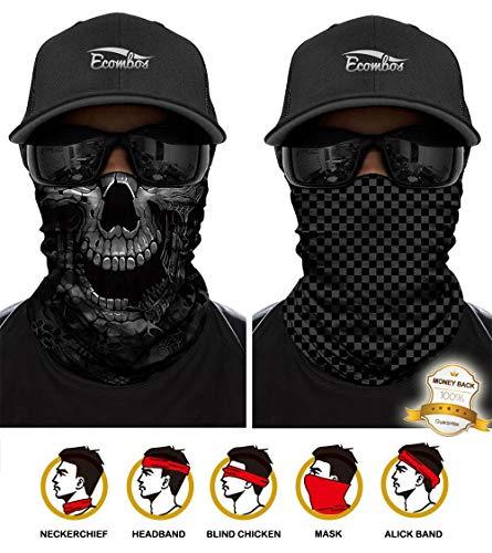 ECOMBOS Multifunktionstuch - Bedrucktes Schlauchtuch Bandana Face Shield Gesichtsmaske Halstuch Qualitäts Bandana, Ski Motorrad Paintball Maske (Lattice+Skull)